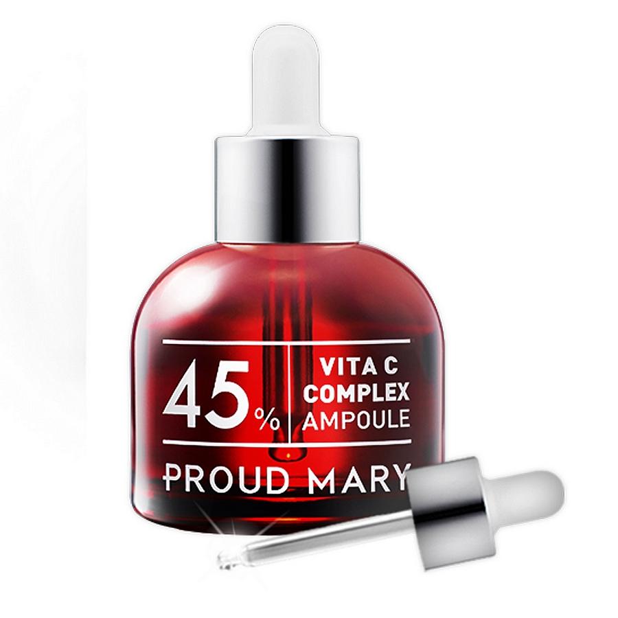 комплекс с витамином с 45% в ампуле proud mary vita c complex ampoule 45%Vita C Complex Ampoule 45%. Комплекс с витамином С 45% в ампуле.<br><br>Витамин С в составе сыворотки оказывает не только осветляющее, но и антиоксидантное, антивозрастное действие, активизирует образование коллагена в коже.<br><br>&amp;nbsp;<br><br>Cодержит высоконцентрированную гиалуроновую кислоту.<br><br>&amp;nbsp;<br><br>Содержит фактор обновления клеток и проспин, увлажняющие и усиливающие защитные свойства кожи.<br><br>&amp;nbsp;<br><br>Уменьшает воздействие вредных факторов на кожу.<br><br>&amp;nbsp;<br><br>Предотвращает преждевременное появление морщин.&amp;nbsp;Снимает раздражение и смягчает.<br><br>&amp;nbsp;<br><br>Применение: Перед применением сыворотки на очищенную кожу можно нанести тоник. Нанесите 2-3 капли сыворотки на кожу лица мягкими похлопывающими движениями. Используйте утром и вечером.<br><br>&amp;nbsp;<br><br>Состав: Water, Butylene Glycol, Sodium Hyaluronate, Biosaccharide Gum-1, Aloe Barbadensis Leaf Juice, Arbutin, Trehalose, Sodium Chondroitin Sulfate, 1,2-Hexanediol, Glycerin, Arginine, Allantoin, Dipotassium Glycyrrhizate, Isohexadecane, Polysorbate 80, Lecithin, 2-O-Ethyl Ascorbic Acid, sh-Oligopeptide-1, sh-Polypeptide-1, sh-Polypeptide-16, sh-Polypeptide-4, Nicotinoyl Hexapeptide-44, Polysorbate 20, Sodium Acrylate/Sodium Acryloyldimethyl Taurate Copolymer, Acrylates/C10-30 Alkyl Acrylate Crosspolymer, Xanthan Gum, Phenoxyethanol, Disodium EDTA, Fragrance.<br>
