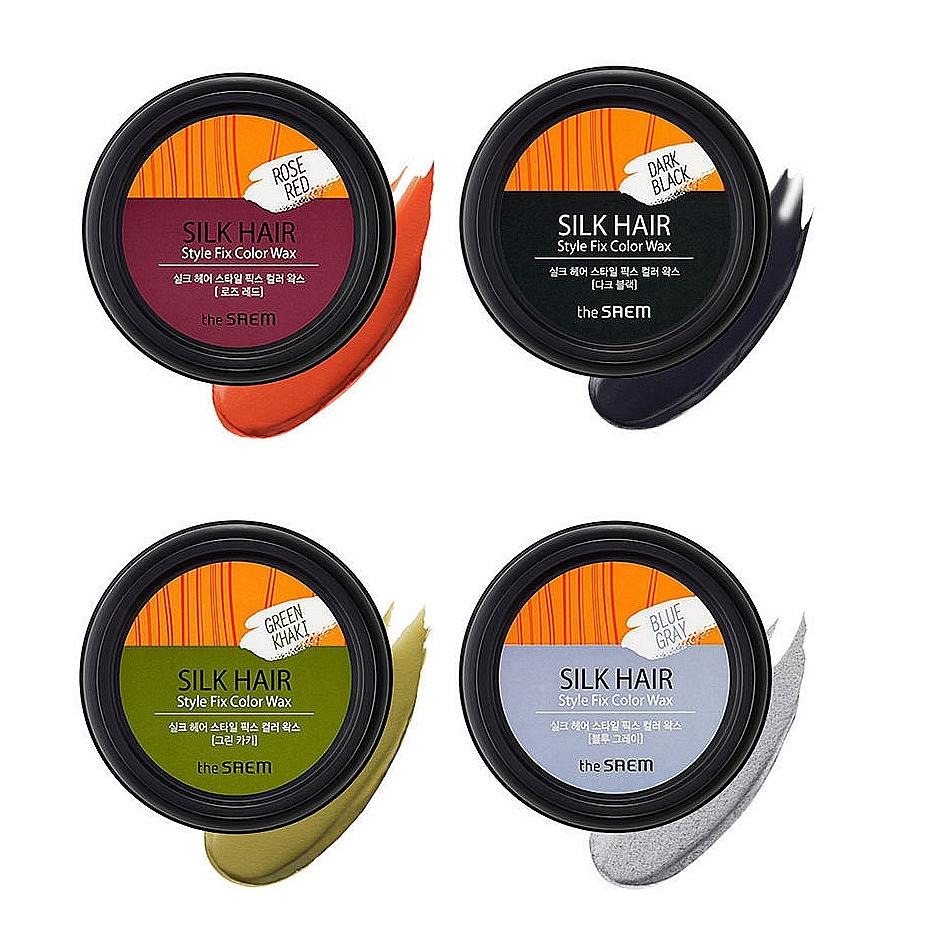 воск для волос оттеночный the saem silk hair style fix color waxSilk Hair Style Fix Color Wax. Воск для волос оттеночный<br><br>Фиксирующий воск для волос – легкое по текстуре и достаточно мощное по степени фиксации средство для укладки любой сложности, для волос любого типа и любой длины.<br><br>&amp;nbsp;<br><br>Воск подчеркивает цвет волос, делает его ярче, придает волосам живой естественный блеск, обладает антистатическим свойством, а также уменьшает ненужную пушистость волос.<br><br>&amp;nbsp;<br><br>Цветной воск придает волосам блеск и делает их послушными, во время нанесения придает эффектный, матовый, цветной оттенок.<br><br>&amp;nbsp;<br><br>Нежная мягкая тестура легко наносится и легко смывается. Содержит: аргановое масло, карнаубский воск, пчелиный воск.<br><br>&amp;nbsp;<br><br>Выпускается в нескольких оттенках:<br><br><br>Blue Grey<br><br>Green Kahki<br><br>Rose Red<br><br>Dark Black<br><br><br>&amp;nbsp;<br><br>Фиксация сильная. Для всех типов волос.<br><br>Подходит для женщин и мужчин.<br><br>&amp;nbsp;<br><br>Способ применения: 1. Нанести небольшое количество воска на сухие или влажные волосы, предварительно растерев в ладонях. 2. Распределить по всей длине волоса. 3. Для более насыщенного оттенка нанести воск повторно.<br><br>&amp;nbsp;<br><br>Объем: 90 гр<br><br>&amp;nbsp;<br><br>Вес г: 90.00000000