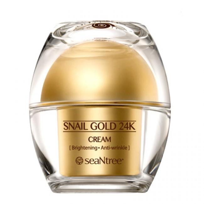крем для лица с 24к золотом и экстрактом улитки seantree snail gold 24k creamSnail Gold 24K Cream. Крем для лица с 24К золотом и экстрактом улитки<br><br>Драгоценный уход за кожей – крем с 24K золотом и экстрактом улитки, оказывает выраженное омолаживающее действие, направленно воздействует на осветление пигментации и разглаживание морщин, кроме того, отлично увлажняет, освежает, питает и восстанавливает кожу, стирает с лица следы усталости и возвращает ему утраченное сияние.<br><br>Золото в составе крема оказывает уникальное воздействие на кожу: улучшает микроциркуляцию крови, стимулирует ее приток к клеткам кожи, активирует выработку собственного коллагена и эластина, способствует удержанию гиалуроновой кислоты, стимулирует деятельность фибробластов, благодаря чему ускоряются процессы регенерации. Такое комплексное воздействие приводит к обновлению и омоложению кожи: она становится упругой и эластичной, укрепляется и подтягивается, овал лица становится более четким. Кроме того, золото является «проводником» и помогает доставлять активные компоненты крема в глубокие слои кожи.<br><br>Экстракт слизи улитки оказывает мощное оздоравливающее и омолаживающее действие, помогает справиться как с проблемами кожи внешнего характера (раздражения, воспаления и др.), так и внутренними, воздействуя на нее на клеточном уровне и запуская процессы регенерации. Улиточный экстракт обладает способностью обеззараживать поверхность кожи, благодаря чему погибают бактерии и различные микроорганизмы, что приводит к заживлению существующих воспалений и предупреждается появление новых. Природный солнцезащитный фильтр уменьшает агрессивное воздействие ультрафиолета на кожу.<br><br>Способ применения: Нанести на кожу легкими массажными движениями.<br><br>Вес: 50 г<br><br>Вес г: 50.00000000