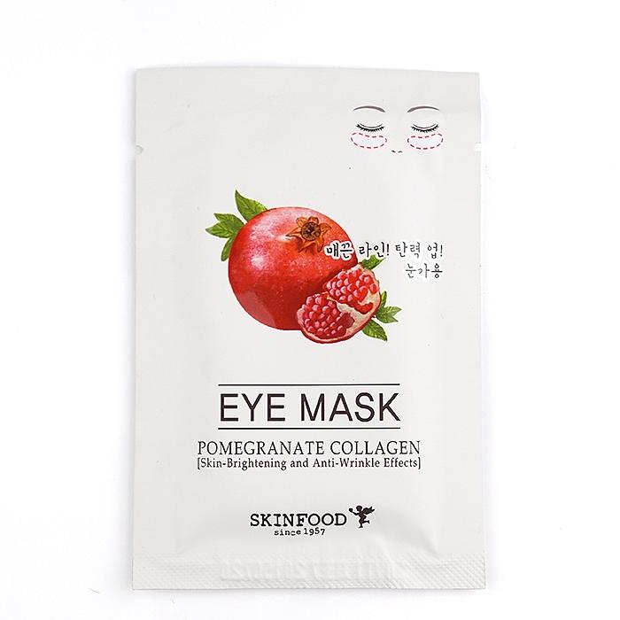 патчи для глаз укрепляющиеPomegranate Collagen Eye Mask. Патчи для глаз укрепляющие<br><br>Уникальная маска, разработанная на основе коллагена и граната, предназначена для мягкого и полноценного ухода за кожей, на которой наблюдают первые возрастные изменения – тусклый цвет, недостаток эластичности и существующие морщинки. Pomegranate Collagen Eye Mask имеет тканевую основу, которая пропитана эссенцией с тщательно подобранной формулой.<br><br>&amp;nbsp;<br><br>Маска содержит экстракт граната, коллаген, ниацинамид, аденозин и другие питательные компоненты. Она эффективно восстанавливает утраченную упругость, препятствует появлению морщин, осветляет пигментацию. Гранат насыщает кожу витаминами, придает лицу румяный оттенок и приятное сияние.<br><br>&amp;nbsp;<br><br>Экстракт граната способствует активной выработке аквапоринов – по ним в клетки кожи попадает вода, снимает воспаления, стимулирует процесс регенерации, восстанавливает иммунные функции кожи.<br><br>&amp;nbsp;<br><br>Коллаген повышает эластичность, подтягивает контуры лица и устраняет морщины. Он способен впитывать влагу из воздуха и удерживать ее в глубоких слоях, что важно для здоровья любого типа кожи.<br><br>&amp;nbsp;<br><br>Регулярное использование Pomegranate Collagen Eye Mask от косметической компании SkinFood позволит улучшить состояние кожи, вернет ее красоту и молодость.<br><br>&amp;nbsp;<br><br>Применение: Снимите с маски тонкую защитную пленку и приложите к лицу, тщательно разгладив. Время воздействия действия маски 30 минут.<br><br>&amp;nbsp;<br><br>Объем: 3 гр<br><br>Вес г: 3.00000000