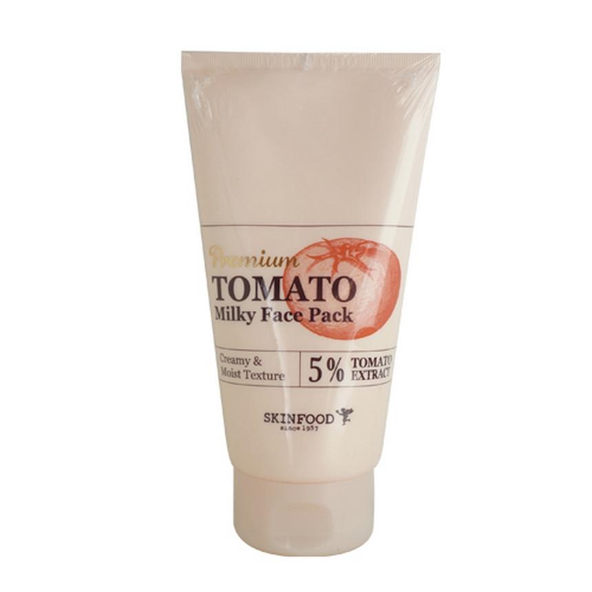 маска для лица с экстрактом томата skin food  premium tomato milky face packОсветляющая маска Premium Tomato Milky Face Pack на основе экстракта томата устраняет следы пост-акне, ускоряет регенерацию, увлажняет, предотвращает потерю влаги.<br><br>Эффективный комплекс из специальных осветляющих компонентов возвращают коже свежесть и сияние.<br><br>Содержит экстракт томата, масла ши (карите), подсолнечника и макадамии, бета – глюкан, бетаин.<br><br>Подходит для любого типа кожи и профилактики преждевременного старения.<br><br>Витаминами Е, С, B предотвращают преждевременное старение кожи лица, обладают антисептическими свойствами, восстанавливают гладкость текстуры кожи.<br><br>Ликопин (содержится в экстракте томата), это органическое соединение, придающее плодам насыщенный красный цвет, является очень сильным натуральным антиоксидантом (превосходящим по своим свойствам таких признанных «ловцов свободных радикалов», как витамины С и Е). Обладает омолаживающим свойством, улучшают цвет лица, разглаживают морщины.<br><br>Керамиды — твердые или воскоподобные вещества липидной природы (сфинголипиды), которые совместно с холестерином и жирными кислотами образуют липидный барьерный слой кожи. При повреждении поверхностного слоя кожи керамиды заполняют бреши, образовавшиеся в результате вымывания, снижают проницаемость кожи, уменьшают потерю воды и улучшают упругость эпидермиса.<br><br>Экстракт лотоса обладает успокаивающим действием, укрепляет клетки кожи, содержит витамин С, нелумбин, нуфарин, арменавин.и минеральные соединения. Так же обладает биостимулирующим, общеукрепляющим, противовоспалительным действием, улучшает кровообращение. Стимулируют активность клеток кожи, замедляют процессы старения, предотвращают образование морщин и делают кожу гладкой и эластичной.<br><br>Экстракт софоры обладает высокими регенерирующими и антиоксидантными свойствами. Помогает коллагену кожи сохранять эластичность, способствует укреплению кожи, регулирует липидный баланс. Защищает клетки 