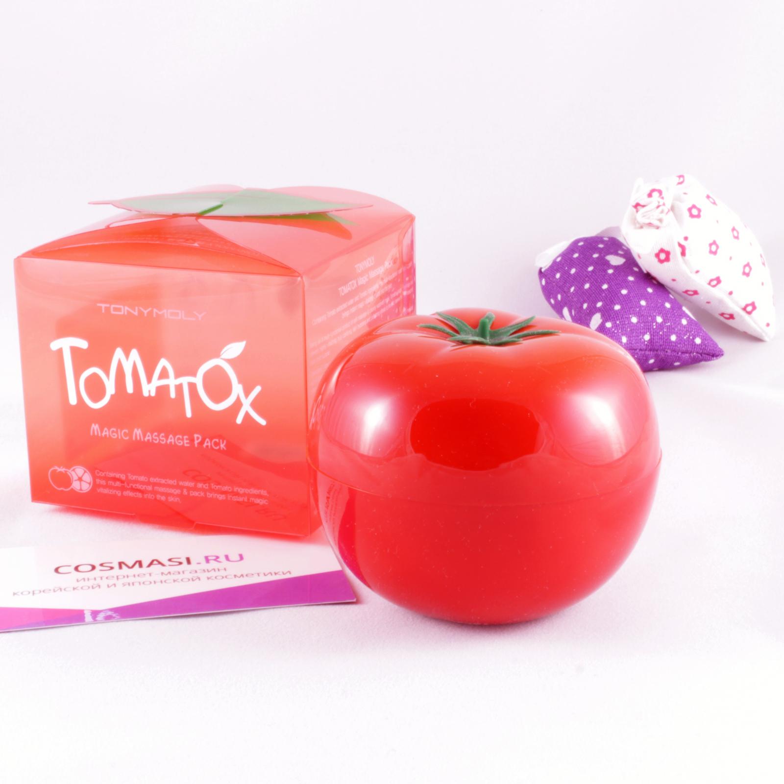 маска для лица томатная  tony moly tomatox magic massage packTOMATOX MAGIC MASSAGE PACK. Маска для лица томатная осветляющая и выводящая токсины.<br><br>Томатная маска содержит экстракт помидоров и других овощей и предназначена для мгновенного приведения кожи в отличное состояние с помощью двойного эффекта - выравнивание тона кожи и детоксикации кожи, то есть выведение токсинов.<br><br>Благодаря составу маски, кожа становится ровной, пятна заметно светлеют, а кожа выглядит здоровой и свежей.<br><br>Маска особенно подходит для чувствительной кожи.<br><br>Содержит витамин А и другие ингридиенты которые помогают снять отечность и раздражение на лице.<br><br>Эта маска подходит для кожи с пигментацией, а также тусклой кожи из-за плохой циркуляции крови и из-за вредных привычек.<br><br>Способ применения: Нанести на очищенное лицо и помассировать пару минут. Оставить маску на лице на 5-10минут, а затем смыть теплой водой.<br><br>Вес г: 80.00000000