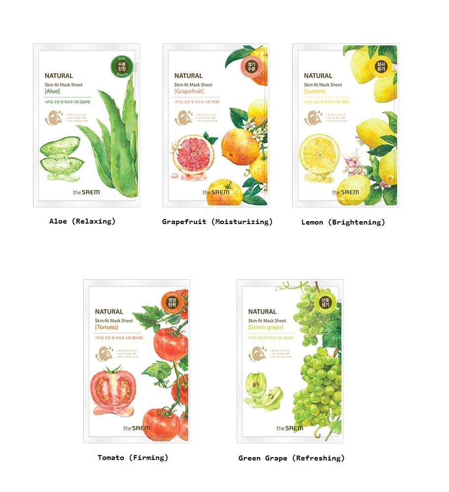 маска тканевая the saem natural skin fit mask sheetNatural Skin Fit Mask Sheet [Tomato]. Маска тканевая томат<br><br>Содержит экстракт томата, экстракт зеленого чая, натуральный увлажняющий фактор&amp;nbsp;и т.д. Придает коже здоровое сияние, обладает охлаждающим и увлажняющим действием.<br><br>Ликопин (содержится в экстракте томата), это органическое соединение, придающее плодам насыщенный красный цвет, является очень сильным натуральным антиоксидантом (превосходящим по своим свойствам таких признанных «ловцов свободных радикалов», как витамины С и Е). Обладает омолаживающим свойством, улучшают цвет лица, разглаживают&amp;nbsp;морщины.<br><br>Natural Skin Fit Mask Sheet [Aloe]. Маска тканевая алоэ<br><br>Содержит экстракт алоэ вера, экстракт зеленого чая, натуральный увлажняющий фактор и т.д. Придает коже здоровое сияние, обладает осветляющим, охлаждающим и увлажняющим действием.<br><br>Экстракт алоэ вера обеспечивает многоуровневую защиту кожи. Длинноцепочечные полисахариды алоэ распределяются по поверхности кожи, создавая увлажняющую пленку, а полисахариды с более короткими цепями проникают в кожу и стимулируют ответственные за иммунитет клетки Лангерганса.<br><br>Дополнительно полисахаридная пленка защищает кожу от УФ-излучения. Экстракт содержит свыше 160 составных частей. Это аминокислоты, витамины, минералы. Обладает бактерицидными и бактериостатическими свойствами, стимулирует кровообращение, увлажняет кожу и помогает ей сохранять влагу, снимает воспаление.<br><br>Обладает смягчающими, увлажняющими свойствами. Эффективен для увядающей кожи, угревой сыпи. Оказывает мощное заживляющее и регенерирующее действие, в несколько раз повышая эластичность кожи, благодаря&amp;nbsp;содержанию в нем особого вещества – Лигнина. Именно оно помогает проникновению влаги и ферментов в глубокие слои кожи, усиливая обменные процессы.<br><br>Natural Skin Fit Mask Sheet [green grape]. Маска тканевая виноград<br><br>Содержит экстракт винограда, экстракт зеленого чая, натуральный у