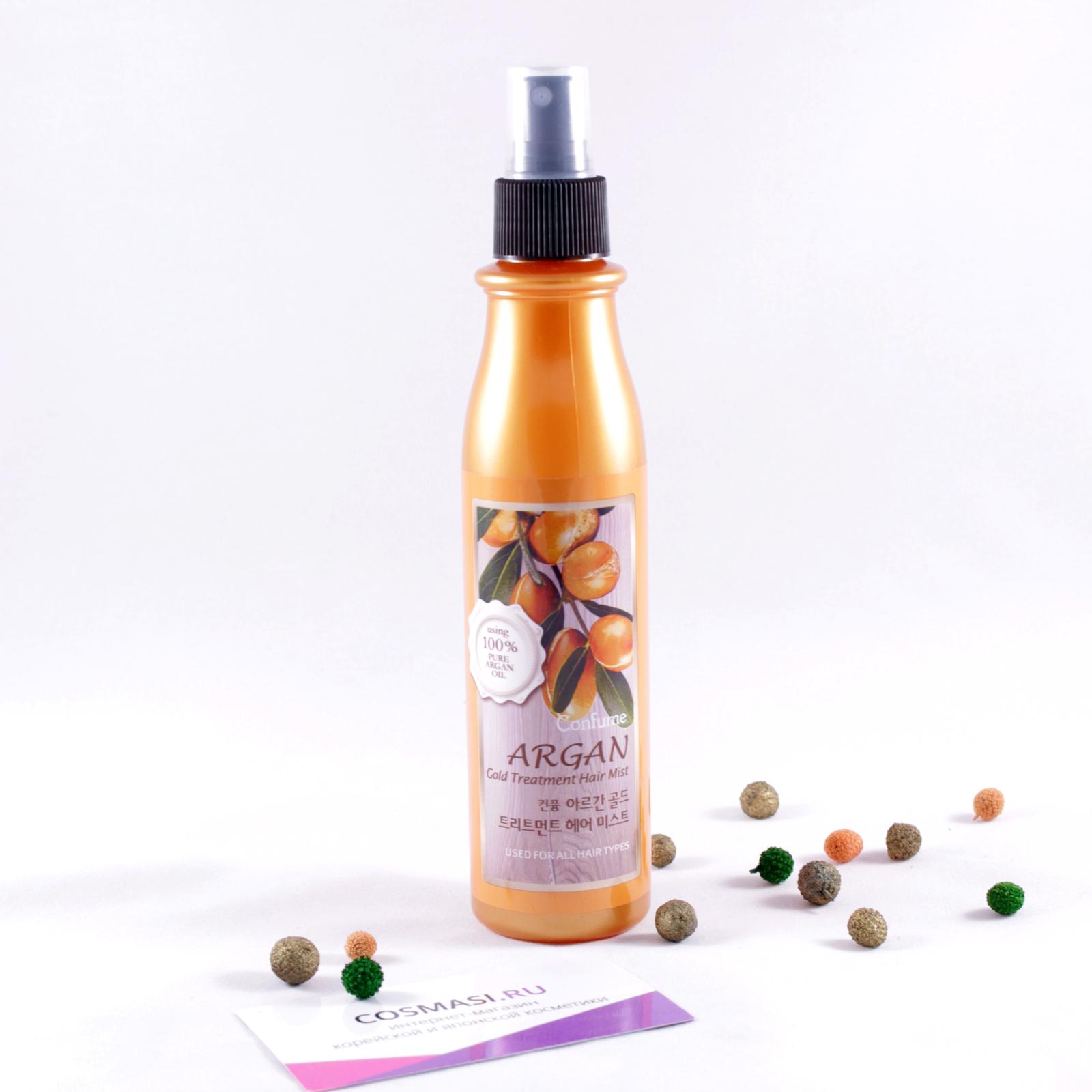 gold cпрей для сияния  укрепления волос  welcos confume argan gold cпрей для волос