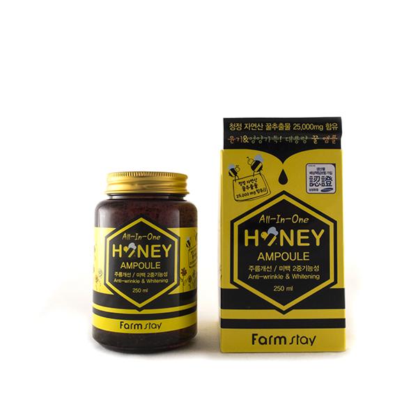 многофункциональная ампульная сыворотка с медом farmstay all-in-one honey ampouleAll-In-One Honey. Многофункциональная ампульная сыворотка с медом.<br><br>Представляет собой натуральный жидкий экстракт 3 в 1: содержит экстракты меда, пчелиного маточного молочка и прополиса. Соединения витамина В, как В1, В2, В6 и пантотеновой кислоты и т.д., дают мощный увлажняющий эффект, предотвращают сухость и помогают управлять увлажнением кожи. Кроме того, он омолаживает кожу изнутри, т.к. эти элементы стимулируют внутреннее кровообращение.<br><br>Аденозин, содержащийся в экстракте помогает разглаживать морщины, а ниацинамид – осветляет и защищает.<br><br>Не содержит искусственных красителей, минерального масла, парабенов, и бензофенона.<br><br>Способ применения: При помощи ложечки, находящейся внутри упаковки, возьмите необходимое количество экстракта-сыворотки, нанесите на кожу лица и распределите легкими массируйющими движениями.<br><br>Меры предосторожности: Избегать попадания в глаза, в случае несовместимости с кожей прекратите использование.<br><br>Характеристики товара:<br><br><br><br><br>Компоненты<br><br>аденозин; прополис; экстракт меда<br><br><br><br>Тип кожи<br><br>для всех типов; комбинированная; жирная; нормальная; обезвоженная; сухая; тусклая<br><br><br><br>Функции<br><br>восстановление и регенерация; осветление пигментации; питание; повышение упругости; смягчение; улучшение цвета лица<br><br><br><br>Несовершенства<br><br>воспаления; жирный блеск; пигментация; покраснения; сухость и обезвоживание; тусклый цвет лица; шелушения<br><br><br><br><br>&amp;nbsp;<br><br>Вес г: 250.00000000