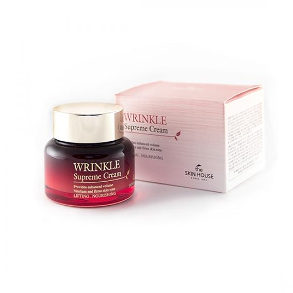 крем от морщин the skin house wrinkle supreme creamWrinkle Supreme Cream. Крем от морщин<br><br>Один из основных компонентов представленного продукта – женьшень. <br><br>Он прекрасно тонизирует кожу, защищает от раздражающих внешних факторов, основательно замедлит процесс старения, сократит риск возникновения воспалений, устранит пигментацию, особенно возрастную.<br><br>Еще в древние времена в восточной косметологии использовался женьшень в качестве чудодейственного омолаживающего средства - эта тенденция сохранилась до сегодня. В anti-age уходе заявленный биостимулятор незаменим.<br><br>В его состав входят: и эфирные масла и жирные, незаменимые аминокислоты и витамины, плюс микроэлементы, которые заключают в средстве тонизирующие, восстанавливающие, омолаживающие свойства и т.д.<br><br>Состав экстракта женьшеня обеспечивает увлажнение и питание, восстановление и обновление клеток, придание упругости коже, нормализацию обменных процессов, омоложение. Данный премиальный ингредиент делает косметику бренда драгоценной по своим качествам - крем восстанавливает жизненные силы кожи.<br><br>Вместе с этим ценным компонентом, в продукте заключены и другие лекарственные ингредиенты, которые усиливают действие средства. Таким образом, достигается эффект исцеления, восстановления баланса равновесия кожного покрова.<br><br>Чтобы поддерживать молодость, здоровье кожи, необходимо правильно за ней ухаживать. Вы должны постоянно следить за тем, чтобы мантия кожи защищала ее – в этом и поможет представленный крем. Такое действие продукт оказывает на кожный покров лица, поскольку разрабатывался по методике восточной медицины.<br><br>Активные компоненты проникают глубоко в кожу, воздействуя на все слои непосредственно. В составе продукта экстракты 9 грибов: экстракт гриба чага, экстракт тутовника лакированного, экстракт гриба санхван, экстракт мацутаке, экстракт агарика бразильского, экстракт водорослей. В широком наборе грибных экстрактов большое количество антиоксидантов для разглажи
