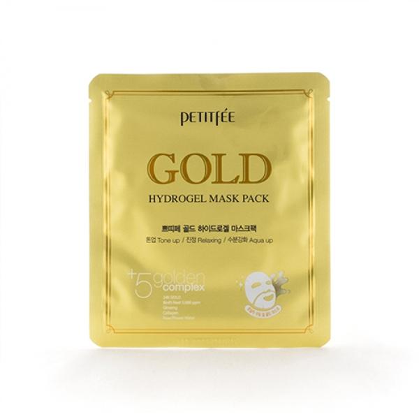 гидрогелевая маска для лица с золотом petitfee gold hydrogel mask packGold Hydrogel Mask Pack. Гидрогелевая маска для лица с золотом<br><br>Золотая гидрогелевая маска придаст лицу гладкость и здоровое сияние. Гидрогелевая маска пропитана концентрированной сывороткой, которая реагирует на температуру кожи вместе с гидрогелем, растворяется и проникает в глубокие слои дермы, устраняя мимические морщины, делая кожу более здоровой и упругой.<br><br>В состав гидрогелевой маски входит комплекс из 9 экстрактов лекарственных трав, а также золото, гиалуроновая кислота, коллаген, экстракт алоэ, женьшеня и масло авокадо, а также другие компоненты, необходимые для красоты кожи.<br><br>Сок березы белой разглаживает кожу, успокаивает и делает ее шелковистой.<br><br>Гиалуроновая кислота создает на поверхности кожи барьер, препятствующий испарению влаги из клеток.<br><br>Золото – настоящий кладезь полезных веществ для красоты кожи. Золото ускоряет обменные процессы в эпидермисе на клеточном уровне, способствует интенсивному обновлению кожного покрова, а также молекулы золота придают коже нежное внутреннее сияние.<br><br>Аденозин и коллаген являются универсальными антивозрастными компонентами, разглаживающими морщины. Масло авокадо смягчает грубую кожу, а экстракт женьшеня действует как антиоксидант, препятствуя разрушению клеток кожи пагубным воздействием свободных радикалов.<br><br>Гидрогелевая маска представляет собой спрессованный гель, созданный из воды, насыщенной питательными веществами. При контакте с кожей, гидрогель начинает таять, отдавая полезные компоненты коже. Маска отлично крепится к лицу, позволяя вам носить ее, не отрываясь от обычных домашних дел. При систематическом применении маски, кожа станет сияющей, шелковистой, ровной и гладкой, пропадут шелушения и шероховатости, морщинки в значительной степени разгладятся.<br><br>Характеристики товара<br><br><br><br><br>Возраст<br><br>от 25-35; от 35; от 45<br><br><br><br>Компоненты<br><br>золото; гиалуроновая кислота; кол