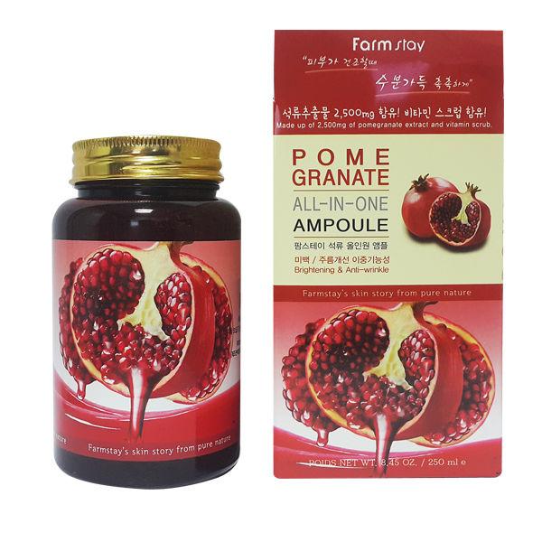 ампульная сыворотка для лица с экстрактом граната farmstay pomegranate all-in one ampoulePomegranate All-In One Ampoule. Ампульная сыворотка для лица с экстрактом граната<br><br>Экстракт граната – природная копилка аминокислот, витаминов и антиоксидантов для дермы. Он насыщает поры влагой, равномерно распределяет и удерживает ее в тканях, стимулирует выработку протеиноида и препятствует истощению коллагеновых волокон, благодаря чему затормаживается процесс естественного состаривания и увядания покрова.<br><br>Кроме того, гранат повышает тургор и смягчает верхний слой дермы. Благодаря отбеливающим качествам – убирает пигментацию и сглаживает шелушения.<br><br>При проблемах нарушения липидного барьера, воспалениях и сухости гранат также эффективен.<br><br>Чтобы не скупать плоды граната большими партиями, мастера корейского бренда собрали его лучшие качества в ампульной сыворотке-эмульсие-тонике с экстрактом граната.<br><br>Средство прекрасно усваивается кутисом и быстро повышает его качественные характеристики. Дерма выглядит здоровой и&amp;nbsp; ухоженной, а также защищена от солнечного излучения и других негативных факторов среды.<br><br>Отсутствие искусственных компонентов, отдушек, красителей и минеральных масел делает эмульсию универсальной в борьбе за красоту для всех типов кожи.<br><br>Уже через неделю регулярного использования эпидермис будет выглядеть светлее, моложе и более подтянуто. А вы забудете про тусклое и уставшее лицо в зеркале.<br><br>Экономичный расход эмульсии позволяет пользоваться средством значительное время, а формула «три в одном» - брать его с собой в поездки и командировки, экономя место в багаже.<br><br>Способ применения: на очищенную кожу плавными, поглаживающими движениями нанесите немного эмульсии и, равномерно распределив, оставьте до полного впитывания.<br><br>Объем: 250 мл<br><br>Характеристики товара:<br><br><br><br><br>Возраст<br><br>от 35; от 45<br><br><br><br>Тип кожи<br><br>для всех типов; увядающая<br><br><br><br>Функции<br><br
