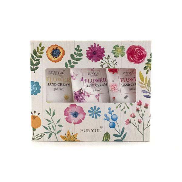 набор цветочных кремов для рук eunyul flower hand cream 3 setFlower Hand Cream 3 Set. Набор цветочных кремов для рук<br><br>Набор из замечательных кремов для рук с цветочными экстрактами станет превосходным подарком для вас и ваших близких, с успехом заменив собой букет цветов. Крема дарят вашим рукам нежный аромат и бережный уход, защищают от неблагоприятного воздействия окружающей среды и бытовой химии.<br><br>Роза, ромашка и сирень – очень разные цветы, которые редко повстречаешь в одном букете, и которые обладают своими уникальными полезными свойствами.<br><br>Легкий ненавязчивый аромат цветов поднимет настроение и будет радовать каждый день. Крем обладает легкой текстурой, быстро впитывается, дарит коже мягкость, гладкость и шелковистость.&amp;nbsp;<br><br><br>Характеристики товара<br><br><br><br><br>Функции<br><br>питание; повышение упругости; повышение эластичности; смягчение; увлажнение<br><br><br><br>Несовершенства<br><br>сухость и обезвоживание; шелушения<br><br><br><br><br><br>Способ применения: Наносить на чистые руки по мере необходимости.<br><br>Количество: 3 шт. по 50мл.<br>