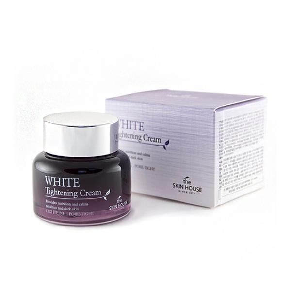 стягивающий поры осветляющий крем the skin house white tightening creamWhite Tightening Cream. Стягивающий поры осветляющий крем<br><br>Если ваше лицо требует больше ухода, увлажнения и немного волшебства – воспользуйтесь кремом, как завершающим средством ухода за дермой. Его легкая текстура, приятный запах и хорошие характеристики подарят красоту и комфорт вашей коже.<br><br>Сузить от природы расширенные и рыхлые поры – задача не простая, но выполнимая. Благодаря активным и правильно подобранным ингредиентам крем справляется с этой задачей, с каждым днем использования оставляя в зеркале все более ухоженное и счастливое отражение.<br><br>В состав крема, как и других средств данной линейки, входит экстракт ниацинамида, регенерирующий и восстанавливающий кутис, экстакт гамамелиса – осветляющий и омолаживающий, а также экстракт листьев камелии, имеющий вяжущие свойства, эффективно стягивающий поры и визуально делающий их почти незаметными. Кроме того, нормализуется и регулируется выработка дермального себума, тонизируется и осветляется лицо в общем.<br><br>При частом применении восстанавливается гидро-липидные баланс клеток, а также гидратация тканей на всех уровнях.<br><br>Структура эпидермиса выравнивается. Лицо становится ухоженным, гладким и красивым, как у фарфоровой куклы.<br><br>Крем имеет легкую структуру, моментально впитывается, не оставляя липкой пленки и жирного блеска. Уже после разового нанесения лицо заметно свежеет, хорошеет и выглядит более здоровым.<br><br>Характеристики товара<br><br><br><br><br>Возраст<br><br>25-35; до 25; от 35<br><br><br><br>Тип кожи<br><br>жирная; проблемная; комбинированная<br><br><br><br>Серия<br><br>White Tightening<br><br><br><br>Функции<br><br>улучшение цвета лица; матирование; выравнивание тона; сужение пор; осветление пигментации<br><br><br><br><br>Способ применения:&amp;nbsp;воспользуйтесь очищающей линейкой средств: тоником, тонером и увлажняющей эмульсией. После того, как последнее средство окончательно впитается, нанес